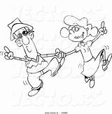 Dancing Cartoon Couple Coloring Swing Outline Vector Leishman Ron Square 1024 Discover sketch template