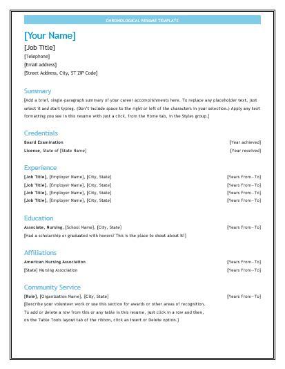 Chronological Resume Exle by 10 Chronological Resume Templates Free Word Templates