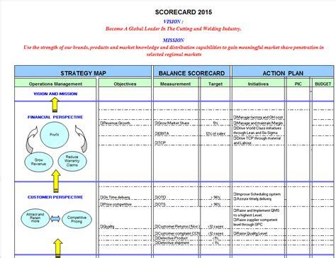 balanced scorecard template excel balanced scorecard exle in excel