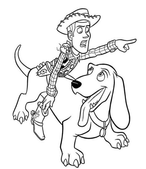 woody riding dog toy story  coloring page coloring