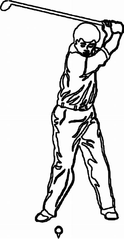 Golf Coloring Pages Cartoon Swing Clipart Cliparts