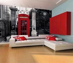 GIANT WALLPAPER WALL MURAL LONDON TELEPHONE BOX VINTAGE ...