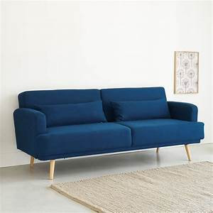 Canapé 3 Places Bleu : canap lit 3 places bleu roi elvis maisons du monde ~ Melissatoandfro.com Idées de Décoration