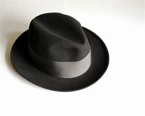 Vintage Mens Fedora Hat Wool Dobbs Black Mad Men Hat Size 6
