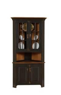 Walnut Corner Cabinet by Amish Plymouth Corner Hutch