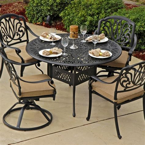 rosedown 4 person cast aluminum patio dining set with 2