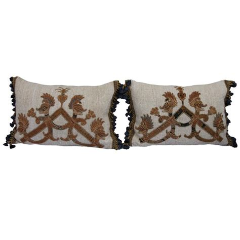 pillows with fringe italian appliqueed home spun linen pillows with tassel fringe for sale at 1stdibs