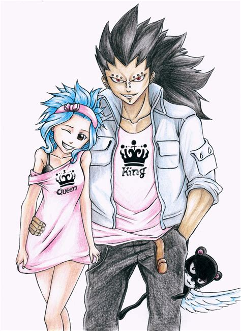 fairy tail anime gajeel gajeel and levy fairy tail king and queen by
