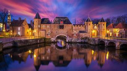 Europe Wallpapers Landscape Architecture Castle Sunset Netherlands