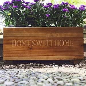 Personalized Stained Rustic Wood Planter Box