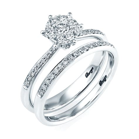 18ct white gold diamond bridal set rings from berry s