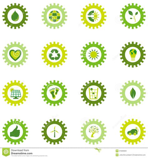 bio eco water set of gear wheel icons from bio eco and environmental