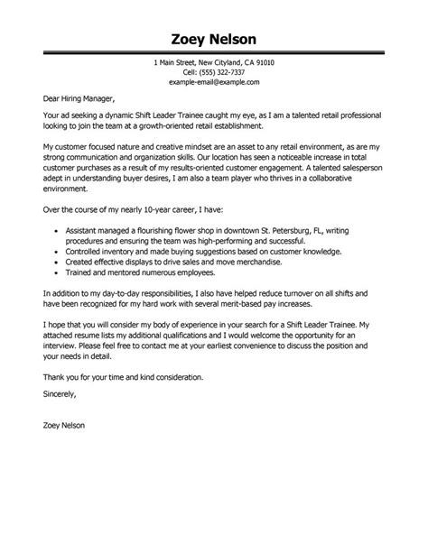 shift leader trainee cover letter examples livecareer