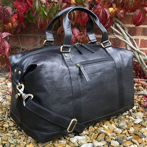 Black Buffalo Leather Travel Bag, Holdall, Gym Bag By ...