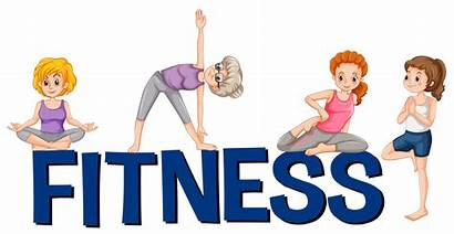 Exercising Fitness Word Clipart Vector Font Yoga