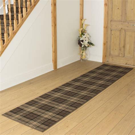 Brown Hallway Carpet Runner Tartan