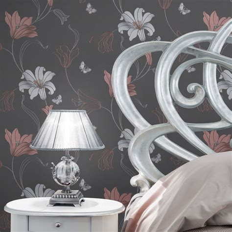 Metallic Wallpaper Amelia Floral Murivamuriva