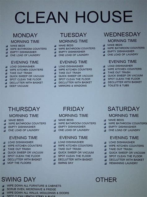 easy cleaning schedule  working moms women fitness
