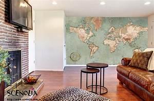 Carte Du Monde Deco Murale : papier peint carte du monde g ante dans votre d coration ~ Dailycaller-alerts.com Idées de Décoration