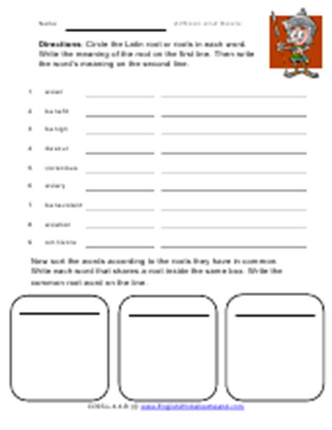 using and affixes and roots worksheets