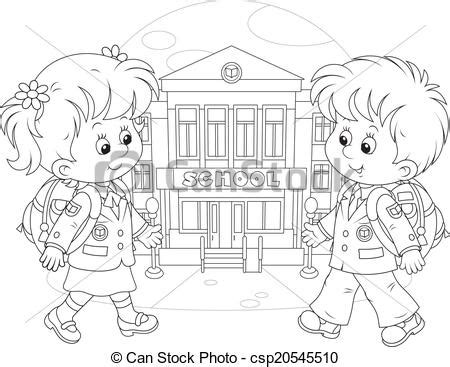 going to school clipart black and white vektor clip schule gehen schulkinder