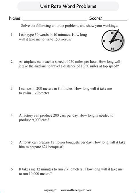 unit rate word problems printable grade  math worksheet