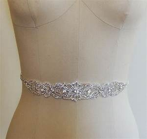 Crystal beaded bridal belt sash rhinestone wedding gown for Wedding dress sashes with crystals