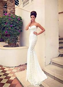 wedding dress slim fit lace heart long strapless elegant With slim fitting wedding dresses