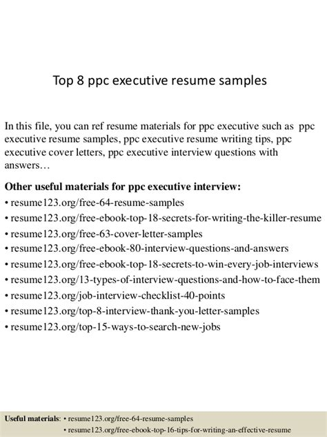 Ppc Executive Resume by Top 8 Ppc Executive Resume Sles