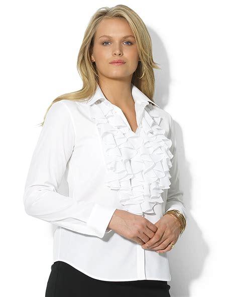 ruffled white blouse plus size ruffle shirt ralph plus size