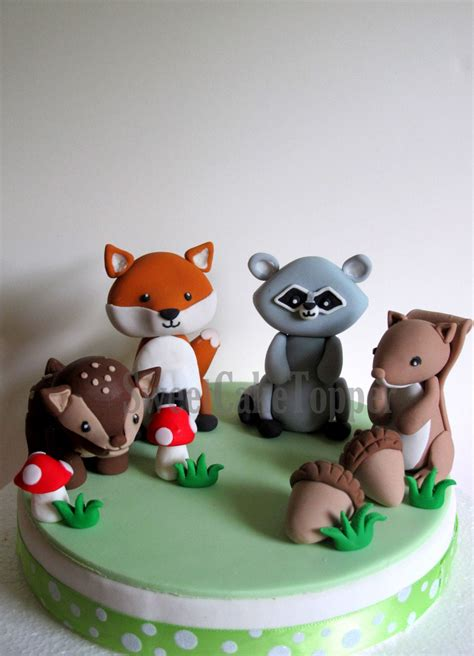 ready  woodland animal cake toppers fox raccoon
