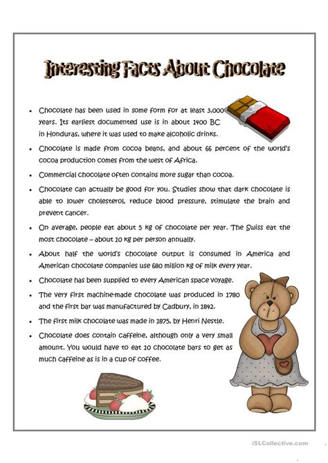 interesting facts about chocolate worksheet free esl