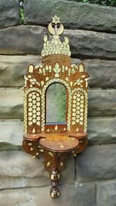 Antique, Moorish, Inlaid, Hardwood, Mirror