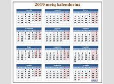 Kalendorius 2019iems metams Rekvizitailt