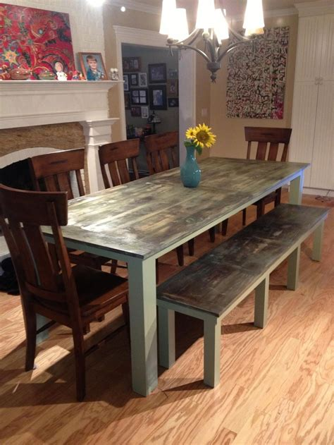 dining room table  bench green weathered    blow torch  weather  wood