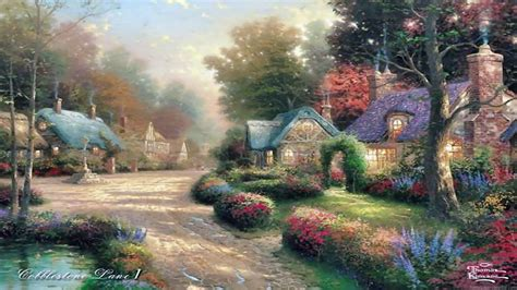 thomas kinkade cottages wallpaper thomas
