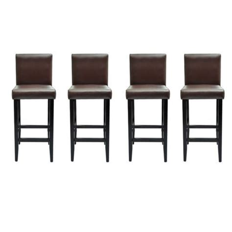 tabouret de bar assise 63 cm 4 tabourets de bar marron achat vente tabouret de bar bois simili pvc polyester coton