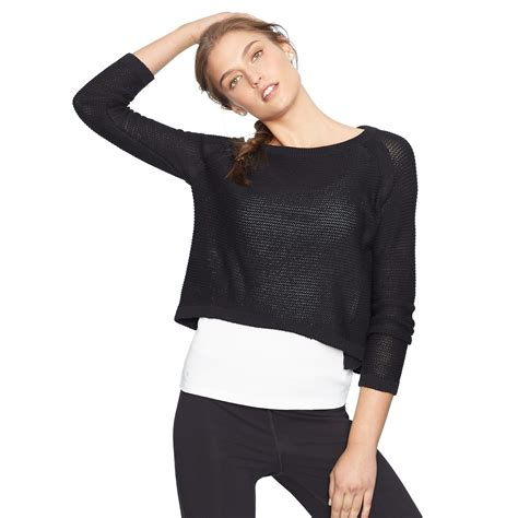 cropped black sweater ralph cropped knit cotton sweater in black lyst