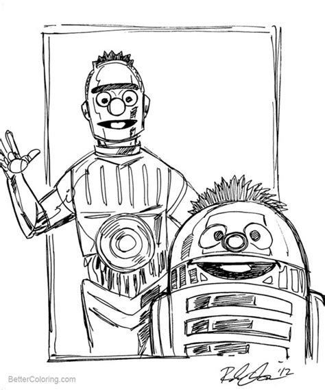 C3po Kleurplaat by R2d2 Coloring Pages Bert And Ernie As C3po R2d2 By Rebekah