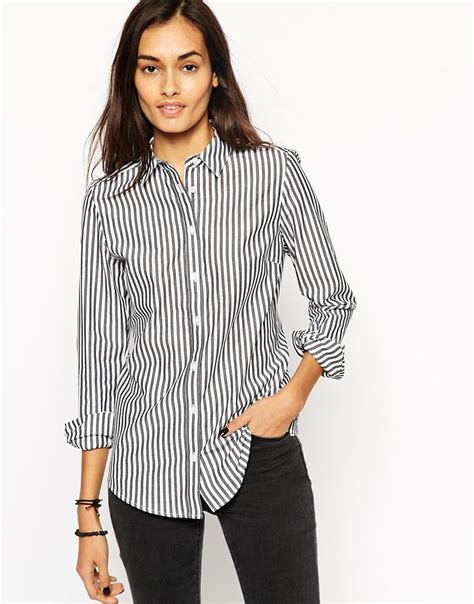 mono stripe asos sleeve black and white stripe fitted shirt in