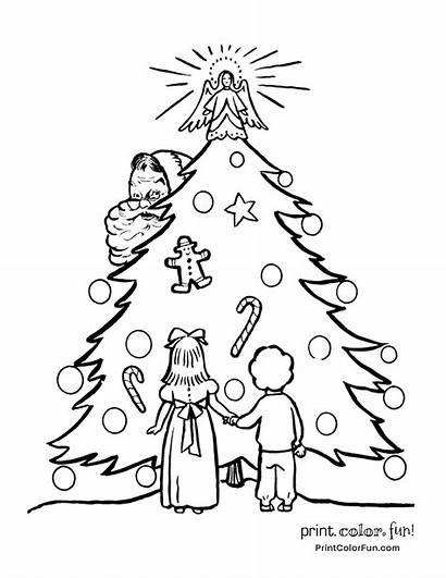 Coloring Christmas Tree Pages Santa Fashioned Retro