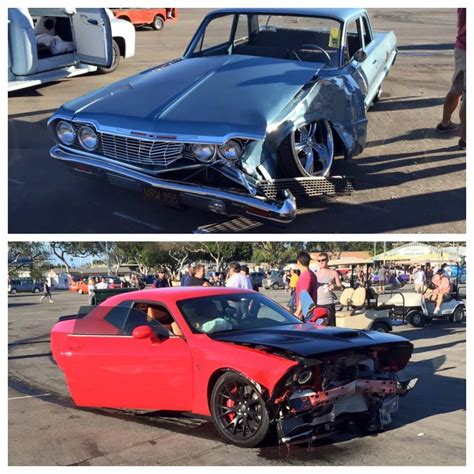 Drifting Hellcat Driver Crashes into Restored Chevy