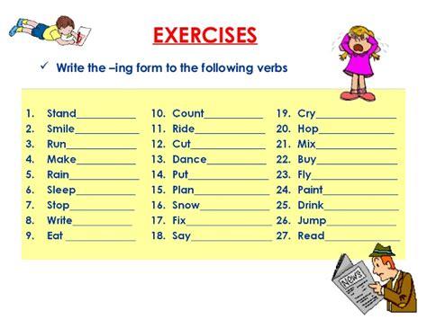 all worksheets 187 ing form of verb worksheets printable