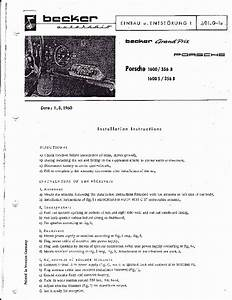 1960 Porsche 1600 1600s 356b Becker Audio Owners Manual