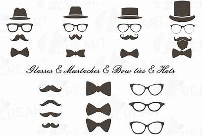 Hipster Clipart Icons Mustaches Bowtie Hats Glass