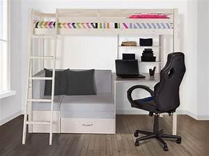 Lit Avec Bureau : lit mezzanine goliath bureau sofa rangements 90x200cm pin ~ Teatrodelosmanantiales.com Idées de Décoration