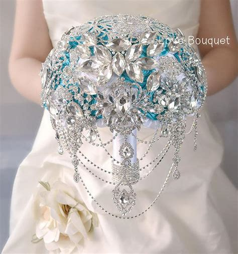 Wedding Brooch Bouquet White Turquoise Crystal Great