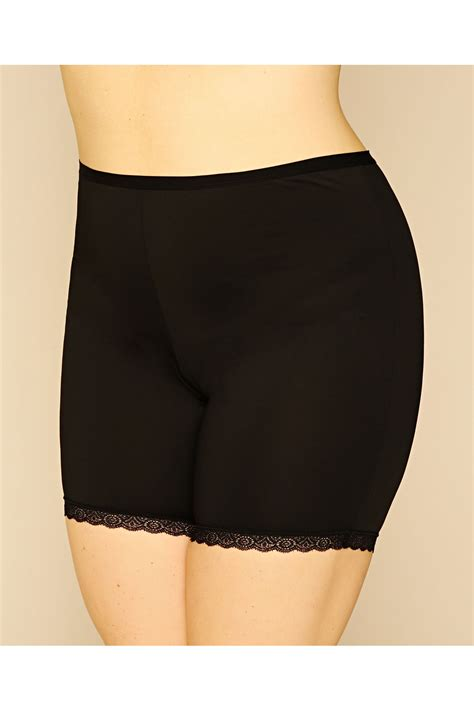 c add to container with templates black thigh smoother brief with lace detail hem plus size