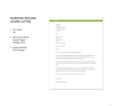 nursing cover letter templates  sampleexample