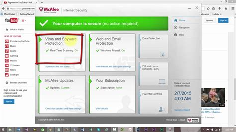 disable mcafee internet security youtube